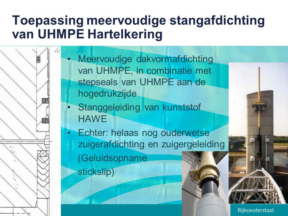 Toepassing meervoudige stangafdichting van UHMPE Hartelkering Meervoudige dakvormafdichting van UHMPE, in combinatie met stepseals van UHMPE aan de ho