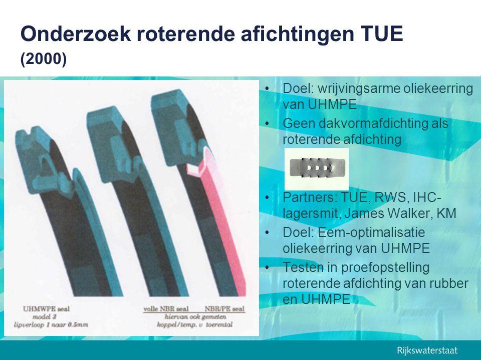 Onderzoek roterende afichtingen TUE (2000) Doel: wrijvingsarme oliekeerring van UHMPE Geen dakvormafdichting als roterende afdichting Partners: TUE, R