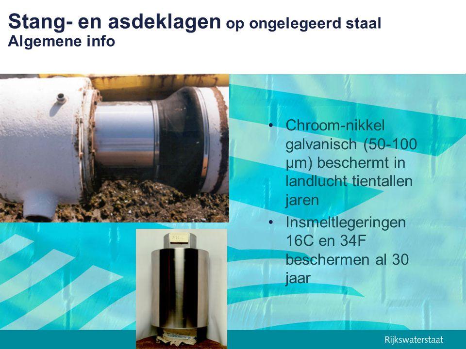 Stang- en asdeklagen op ongelegeerd staal Algemene info Chroom-nikkel galvanisch (50-100 µm) beschermt in landlucht tientallen jaren Insmeltlegeringen