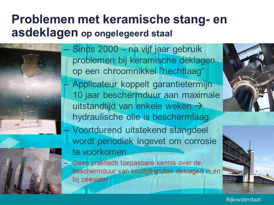 Problemen met keramische stang- en asdeklagen op ongelegeerd staal –Sinds 2000 – na vijf jaar gebruik problemen bij keramische deklagen op een chroomn