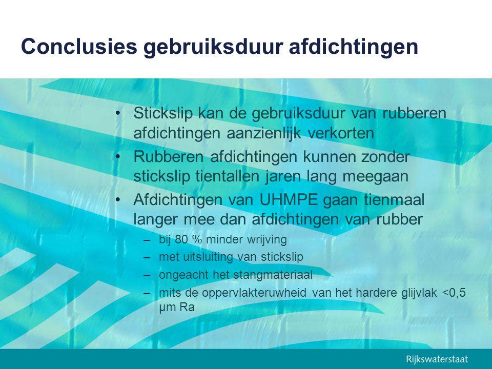 Conclusies gebruiksduur afdichtingen Stickslip kan de gebruiksduur van rubberen afdichtingen aanzienlijk verkorten Rubberen afdichtingen kunnen zonder