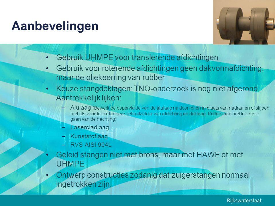 Aanbevelingen Gebruik UHMPE voor translerende afdichtingen Gebruik voor roterende afdichtingen geen dakvormafdichting, maar de oliekeerring van rubber