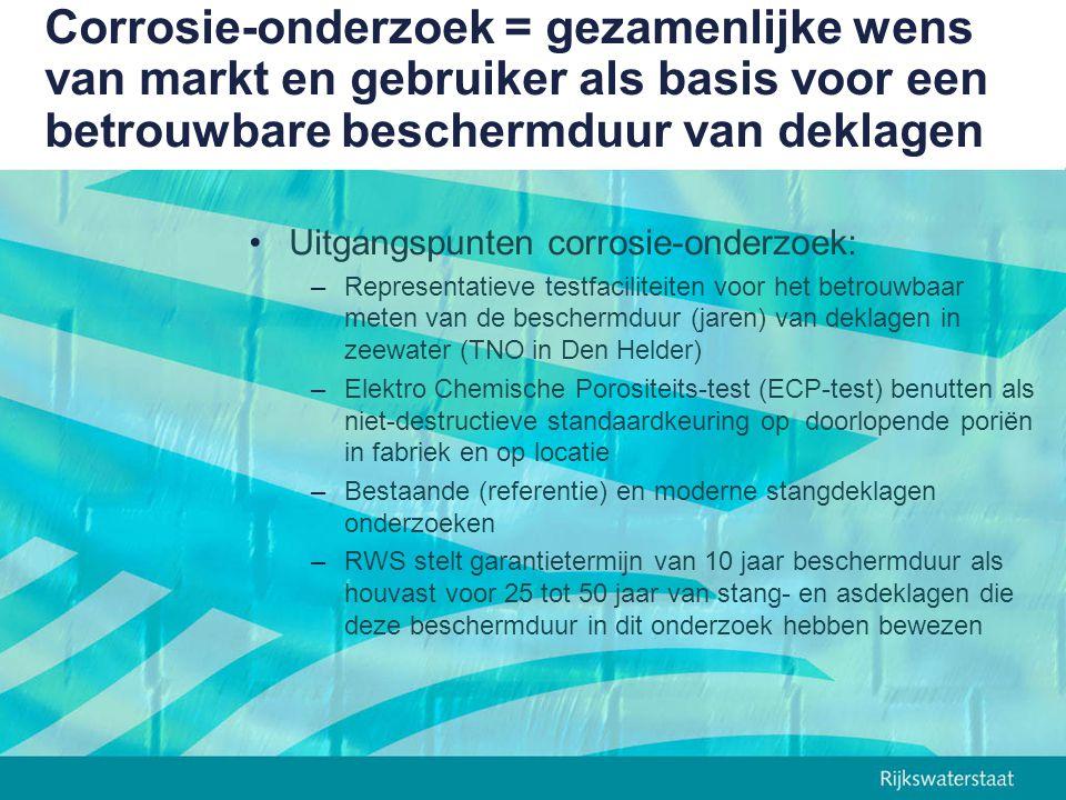 Corrosie-onderzoek = gezamenlijke wens van markt en gebruiker als basis voor een betrouwbare beschermduur van deklagen Uitgangspunten corrosie-onderzo
