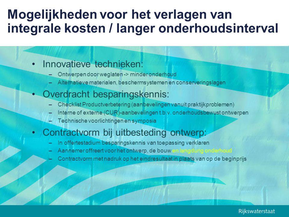 Corrosie-onderzoek = gezamenlijke wens van markt en gebruiker als basis voor een betrouwbare beschermduur van deklagen Uitgangspunten corrosie-onderzoek: –Representatieve testfaciliteiten voor het betrouwbaar meten van de beschermduur (jaren) van deklagen in zeewater (TNO in Den Helder) –Elektro Chemische Porositeits-test (ECP-test) benutten als niet-destructieve standaardkeuring op doorlopende poriën in fabriek en op locatie –Bestaande (referentie) en moderne stangdeklagen onderzoeken –RWS stelt garantietermijn van 10 jaar beschermduur als houvast voor 25 tot 50 jaar van stang- en asdeklagen die deze beschermduur in dit onderzoek hebben bewezen
