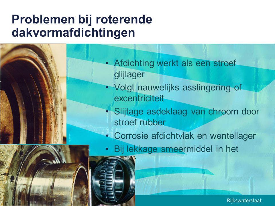 Onderzoek stangafdichtingen TUE (1997) Doel: wrijvingsarme slijtvast dakvormafdichting Partners: TUE, RWS, Hydraudyne, Shamban Materiaalselectie –Rubber (referentie) –PTFE-varianten –PUR –UHMPE Onderzochte eigenschappen –Wrijvingscoëfficiënt –Slijtfactor –Visco-elastische vervorming Materiaalkeuze: UHMPE als afdichtingsmateriaal: circa 20 maal zo stijf als rubber Eem-optimalisatie dakvormafdichting van UHMPE Prototype-onderzoek naar lekkage, wrijvingscoëfficiënt en slijtage