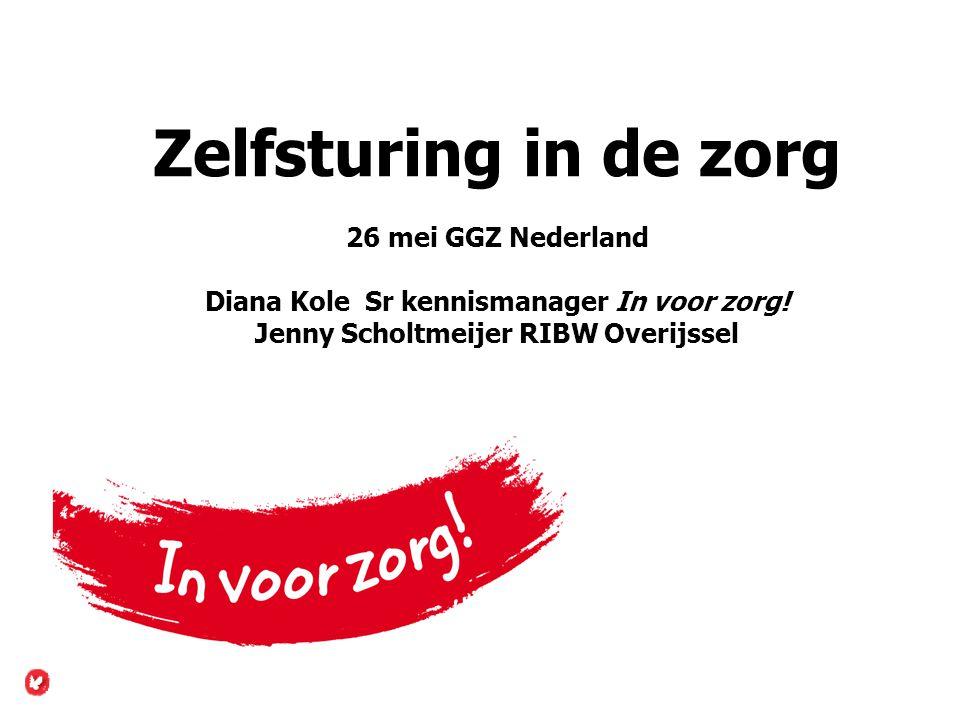 Zelfsturing in de zorg 26 mei GGZ Nederland Diana Kole Sr kennismanager In voor zorg.