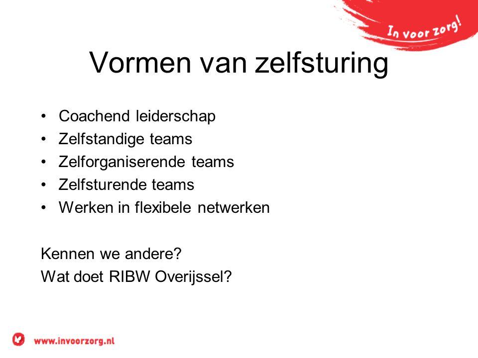 Vormen van zelfsturing Coachend leiderschap Zelfstandige teams Zelforganiserende teams Zelfsturende teams Werken in flexibele netwerken Kennen we andere.