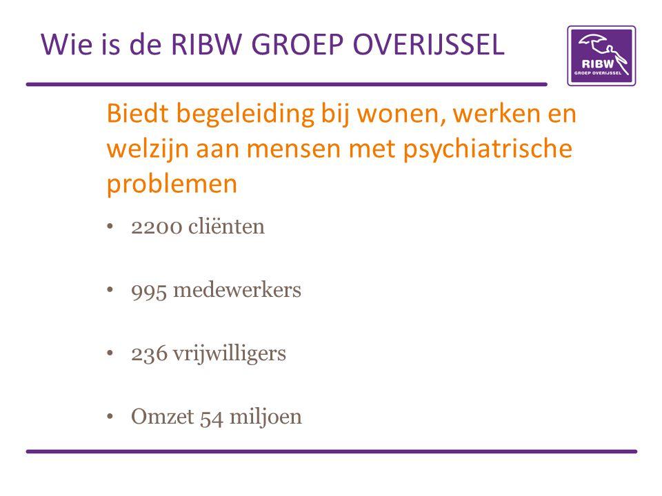 Biedt begeleiding bij wonen, werken en welzijn aan mensen met psychiatrische problemen 2200 cliënten 995 medewerkers 236 vrijwilligers Omzet 54 miljoen Wie is de RIBW GROEP OVERIJSSEL