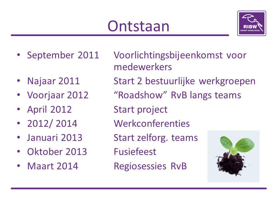 """Ontstaan September 2011Voorlichtingsbijeenkomst voor medewerkers Najaar 2011Start 2 bestuurlijke werkgroepen Voorjaar 2012""""Roadshow"""" RvB langs teams A"""