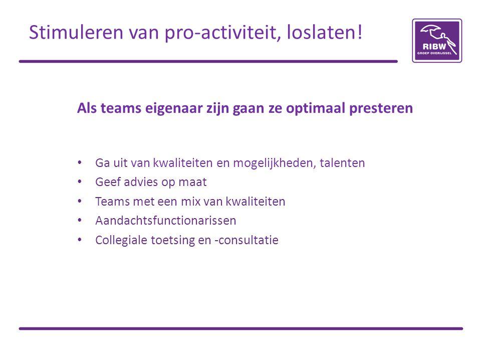 Als teams eigenaar zijn gaan ze optimaal presteren Ga uit van kwaliteiten en mogelijkheden, talenten Geef advies op maat Teams met een mix van kwaliteiten Aandachtsfunctionarissen Collegiale toetsing en -consultatie Stimuleren van pro-activiteit, loslaten!