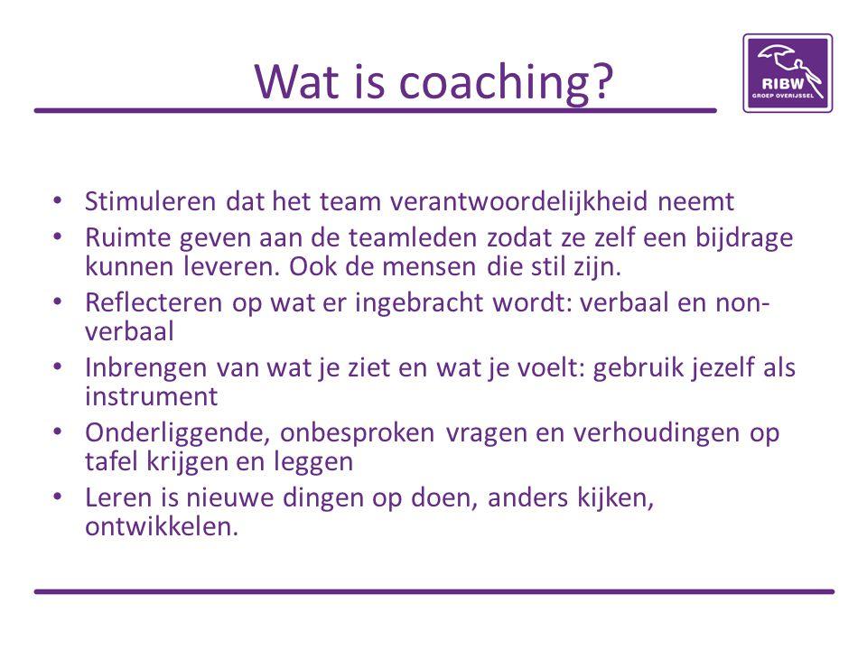 Wat is coaching? Stimuleren dat het team verantwoordelijkheid neemt Ruimte geven aan de teamleden zodat ze zelf een bijdrage kunnen leveren. Ook de me