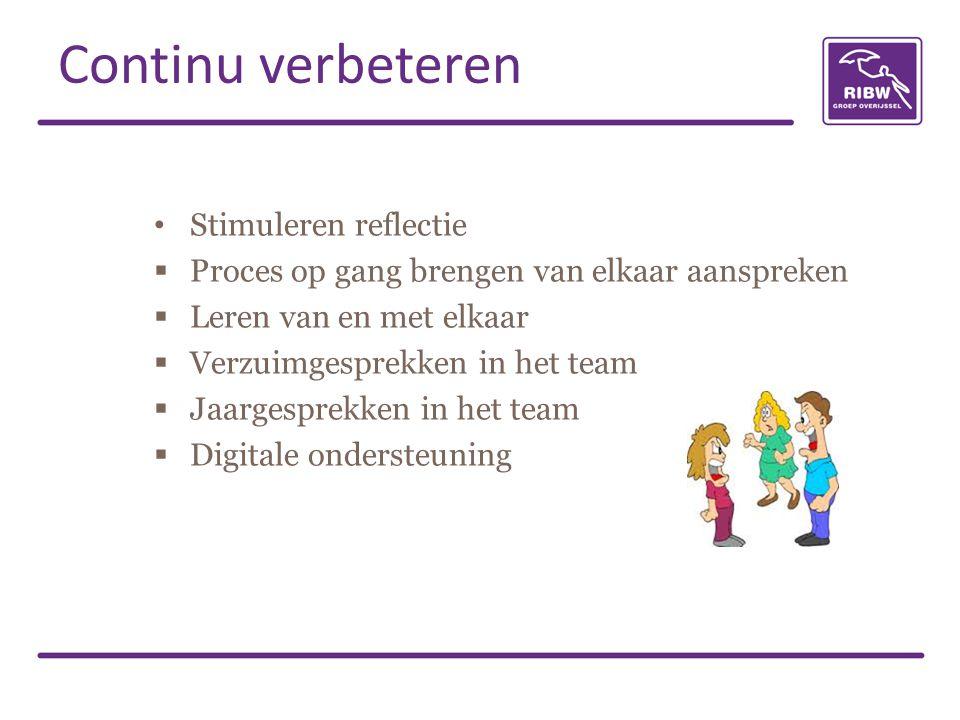 Stimuleren reflectie  Proces op gang brengen van elkaar aanspreken  Leren van en met elkaar  Verzuimgesprekken in het team  Jaargesprekken in het team  Digitale ondersteuning Continu verbeteren