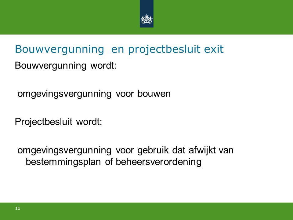 11 Bouwvergunning en projectbesluit exit Bouwvergunning wordt: omgevingsvergunning voor bouwen Projectbesluit wordt: omgevingsvergunning voor gebruik dat afwijkt van bestemmingsplan of beheersverordening