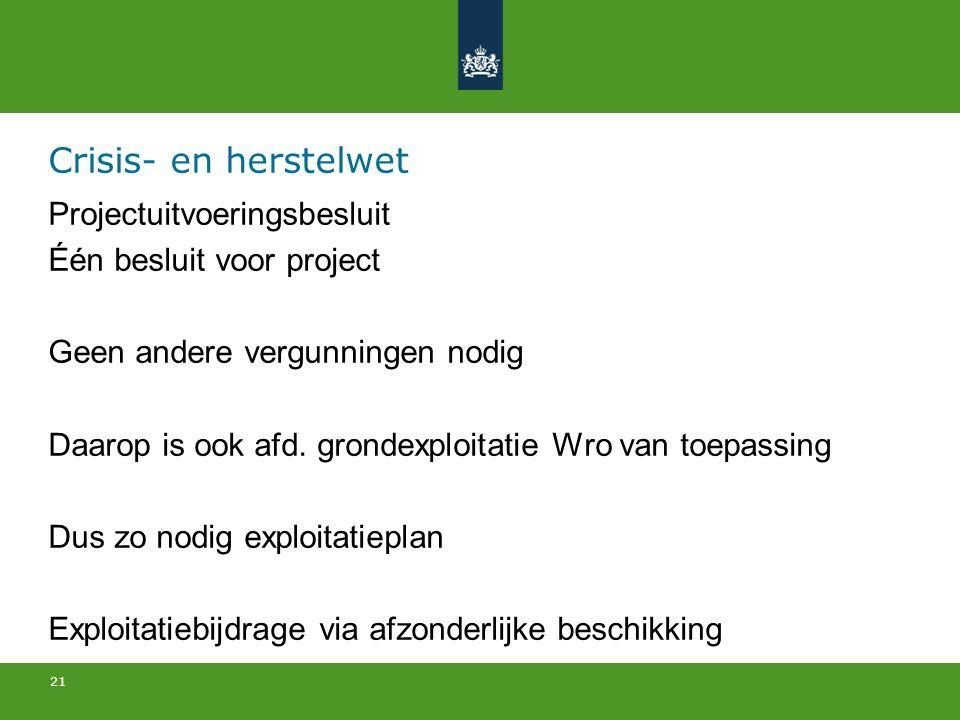 21 Crisis- en herstelwet Projectuitvoeringsbesluit Één besluit voor project Geen andere vergunningen nodig Daarop is ook afd.
