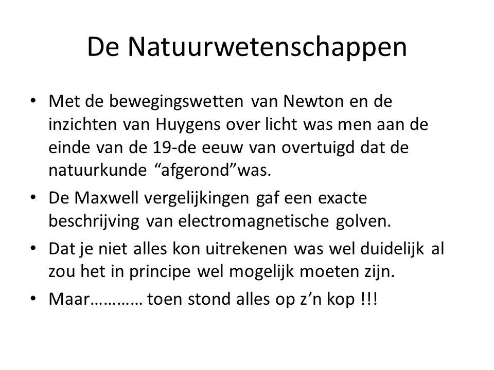 De Natuurwetenschappen Met de bewegingswetten van Newton en de inzichten van Huygens over licht was men aan de einde van de 19-de eeuw van overtuigd d