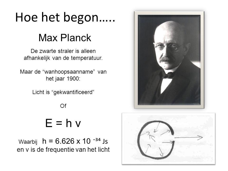 """Max Planck De zwarte straler is alleen afhankelijk van de temperatuur. Maar de """"wanhoopsaanname"""" van het jaar 1900: Licht is """"gekwantificeerd"""" Of E ="""