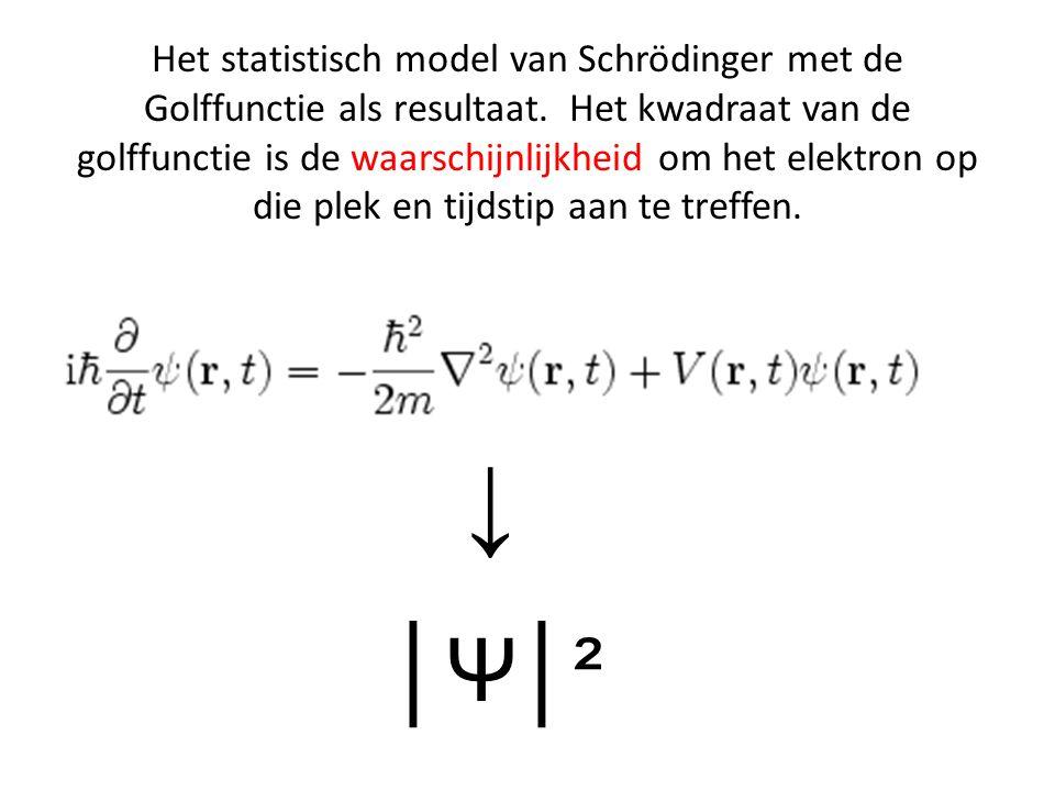 Het statistisch model van Schrödinger met de Golffunctie als resultaat. Het kwadraat van de golffunctie is de waarschijnlijkheid om het elektron op di
