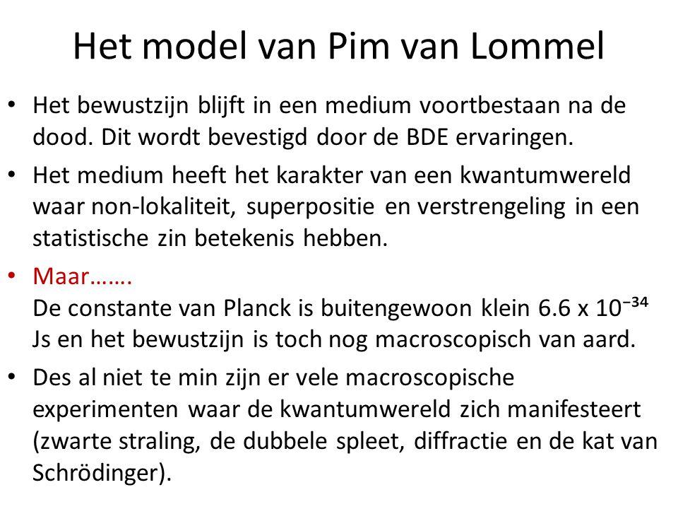 Het model van Pim van Lommel Het bewustzijn blijft in een medium voortbestaan na de dood. Dit wordt bevestigd door de BDE ervaringen. Het medium heeft
