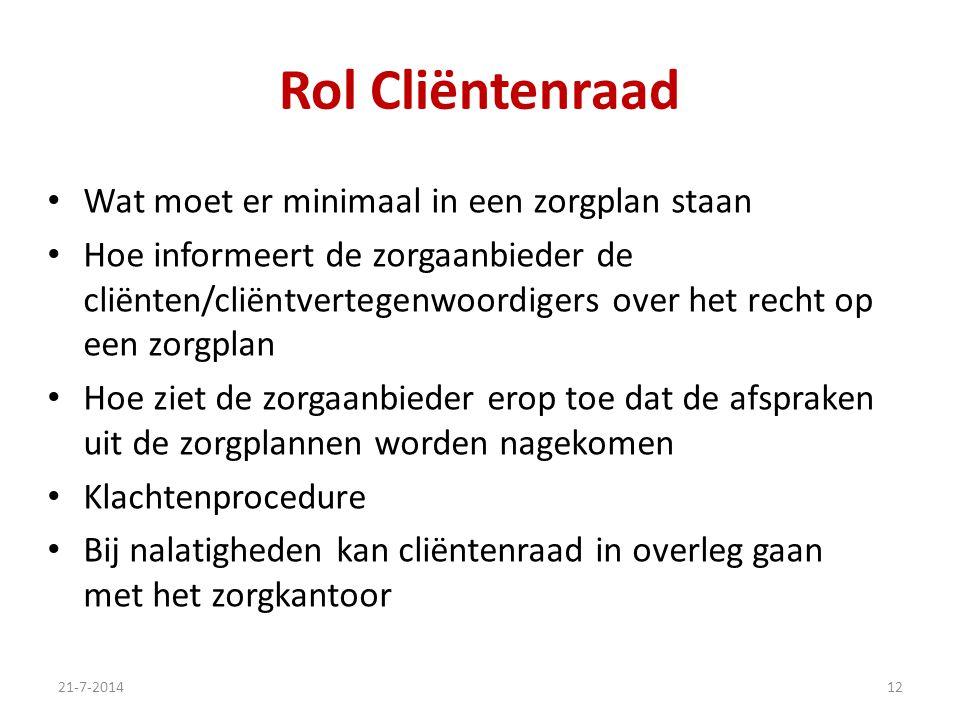 Rol Cliëntenraad Wat moet er minimaal in een zorgplan staan Hoe informeert de zorgaanbieder de cliënten/cliëntvertegenwoordigers over het recht op een