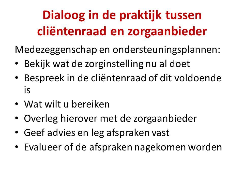 Dialoog in de praktijk tussen cliëntenraad en zorgaanbieder Medezeggenschap en ondersteuningsplannen: Bekijk wat de zorginstelling nu al doet Bespreek
