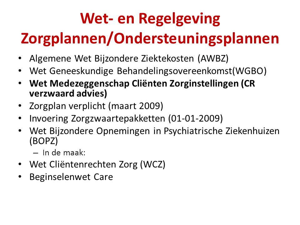 Wet- en Regelgeving Zorgplannen/Ondersteuningsplannen Algemene Wet Bijzondere Ziektekosten (AWBZ) Wet Geneeskundige Behandelingsovereenkomst(WGBO) Wet