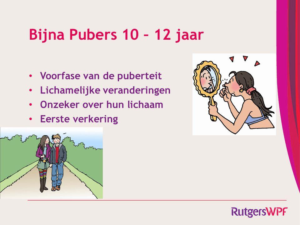 Bijna Pubers 10 – 12 jaar Voorfase van de puberteit Lichamelijke veranderingen Onzeker over hun lichaam Eerste verkering