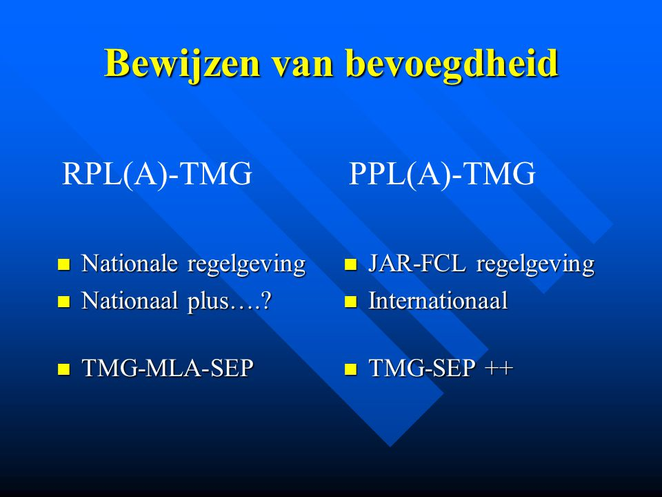 Bewijzen van bevoegdheid Nationale regelgeving Nationale regelgeving Nationaal plus….? Nationaal plus….? TMG-MLA-SEP TMG-MLA-SEP JAR-FCL regelgeving I