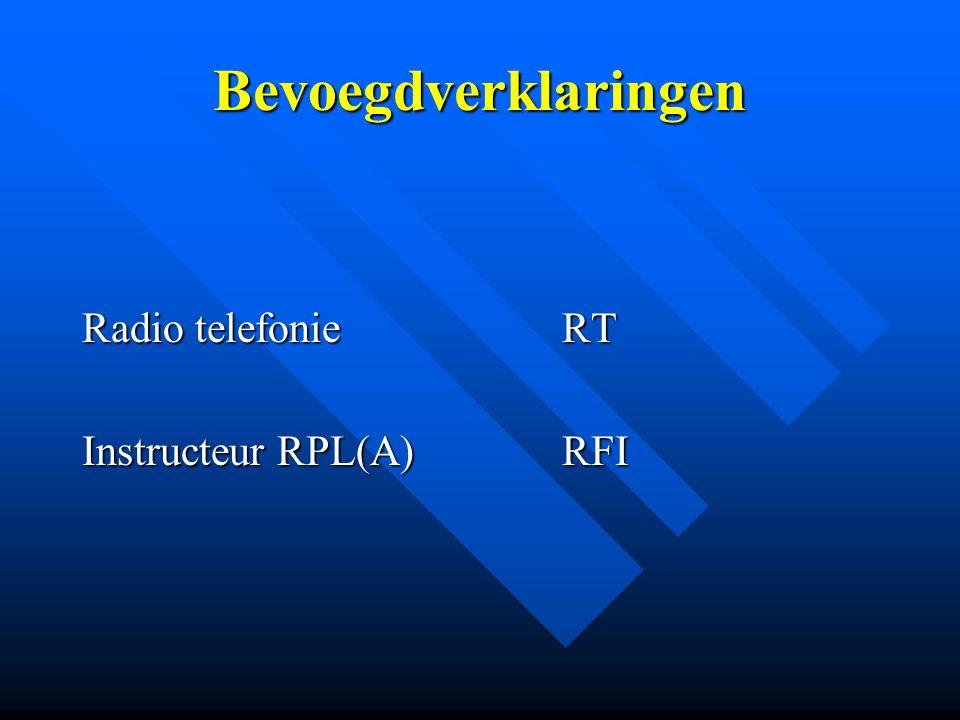 RFI Toelatingseisen voor een RFI(A) opleiding Houder van geldig RPL(A) met RT Houder van geldig RPL(A) met RT Theoretische kennis op CPL(A) niveau getoetst door middel van toelatingsexamen Theoretische kennis op CPL(A) niveau getoetst door middel van toelatingsexamen Prof check binnen 6 maanden voorafgaand Prof check binnen 6 maanden voorafgaand 150 uur gezagvoerder op TMG waarvan ten minste 5 uur binnen 6 maanden en 20 uur overland.
