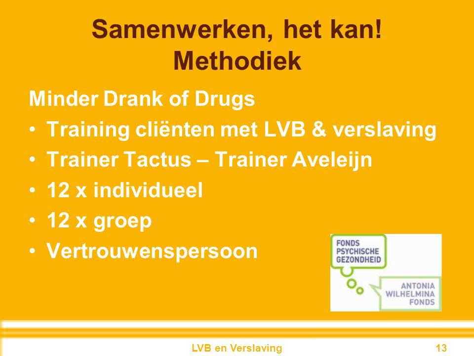 Samenwerken, het kan! Methodiek Minder Drank of Drugs Training cliënten met LVB & verslaving Trainer Tactus – Trainer Aveleijn 12 x individueel 12 x g