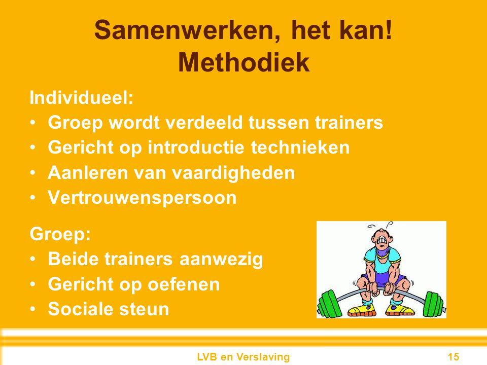Samenwerken, het kan! Methodiek Individueel: Groep wordt verdeeld tussen trainers Gericht op introductie technieken Aanleren van vaardigheden Vertrouw