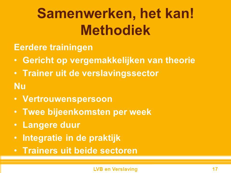 Samenwerken, het kan! Methodiek Eerdere trainingen Gericht op vergemakkelijken van theorie Trainer uit de verslavingssector Nu Vertrouwenspersoon Twee