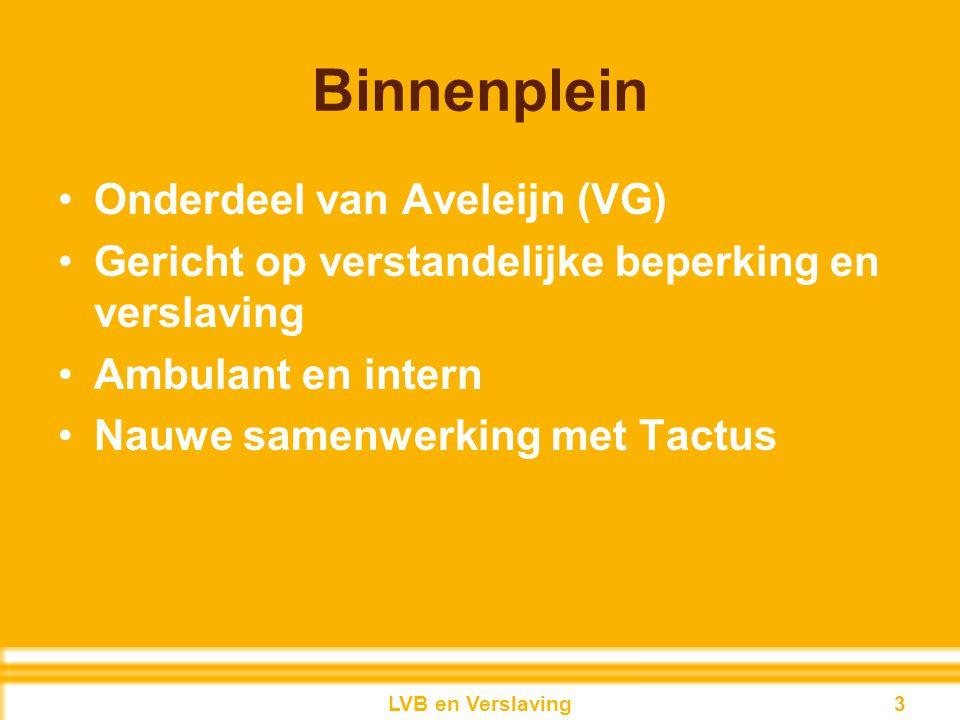 Binnenplein Onderdeel van Aveleijn (VG) Gericht op verstandelijke beperking en verslaving Ambulant en intern Nauwe samenwerking met Tactus 3LVB en Ver