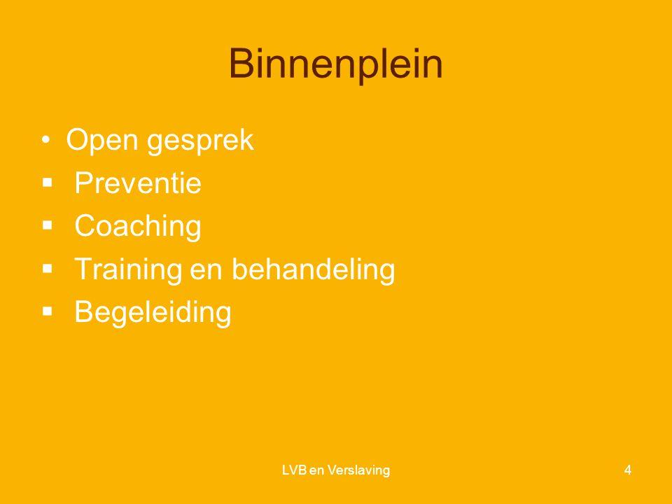 Binnenplein Open gesprek  Preventie  Coaching  Training en behandeling  Begeleiding LVB en Verslaving4