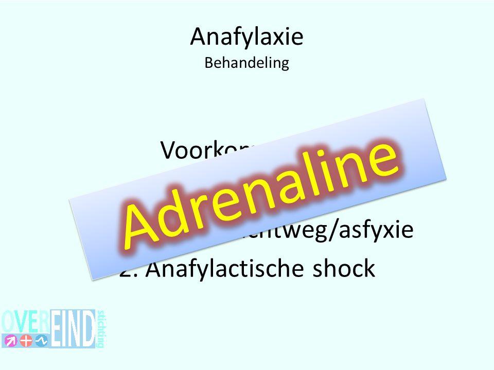 Anafylaxie Behandeling Voorkomen van 1. Bedreigde luchtweg/asfyxie 2. Anafylactische shock