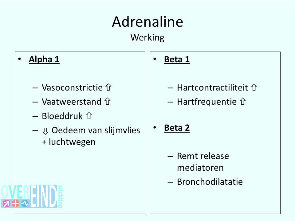 Adrenaline Werking Alpha 1 – Vasoconstrictie  – Vaatweerstand  – Bloeddruk  –  Oedeem van slijmvlies + luchtwegen Beta 1 – Hartcontractiliteit  – Hartfrequentie  Beta 2 – Remt release mediatoren – Bronchodilatatie 