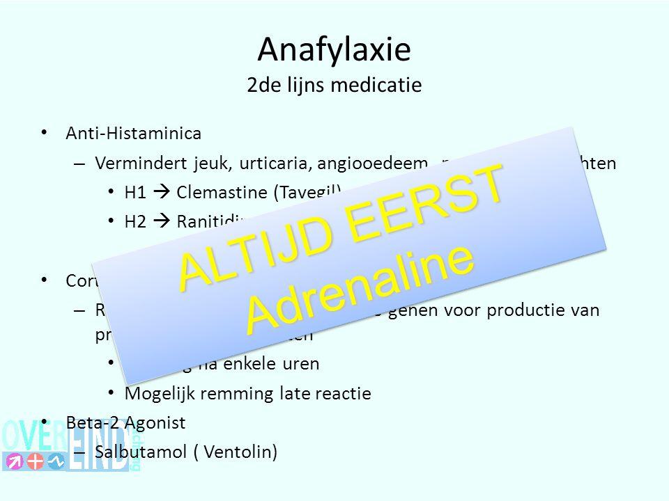 Anafylaxie 2de lijns medicatie Anti-Histaminica – Vermindert jeuk, urticaria, angiooedeem, neus en oog klachten H1  Clemastine (Tavegil) H2  Ranitidine; Cimetidine Corticosteroiden – Remt transctripie van geactiveerde genen voor productie van proinflammatoire eiwitten Werking na enkele uren Mogelijk remming late reactie Beta-2 Agonist – Salbutamol ( Ventolin) ALTIJD EERST Adrenaline Adrenaline