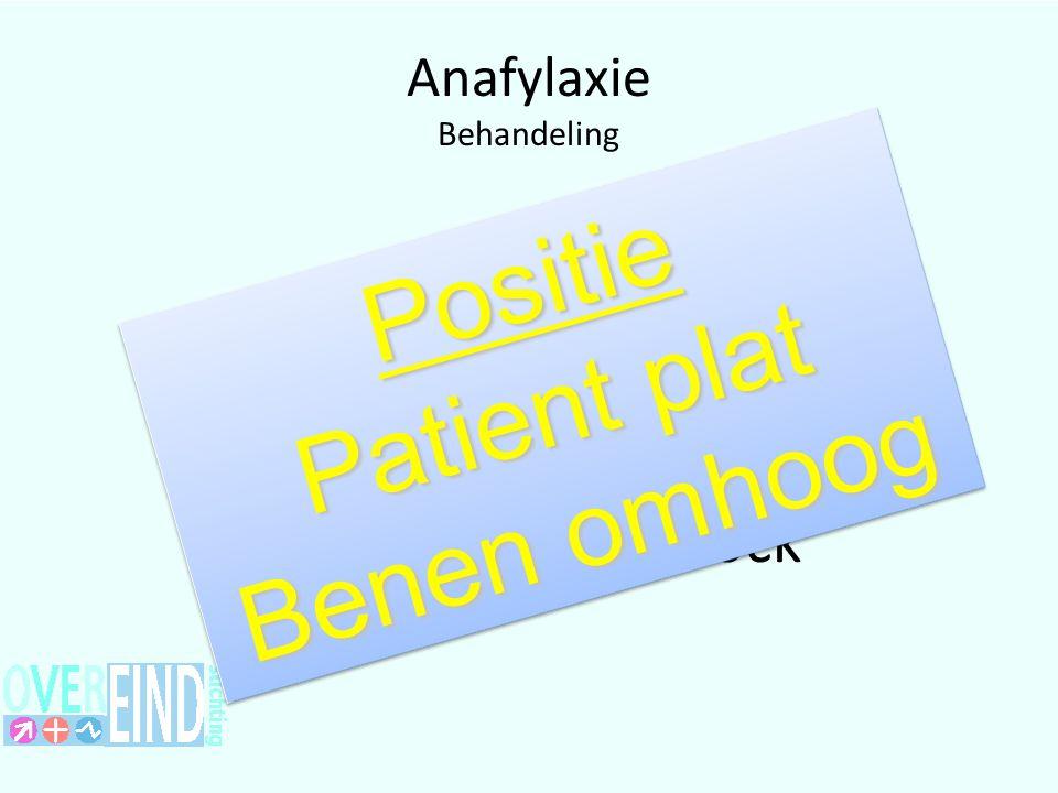 Anafylaxie Behandeling Voorkomen van Anafylactische shock Positie Patient plat Benen omhoog Positie Patient plat Benen omhoog