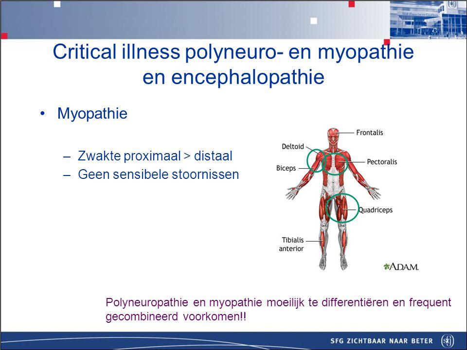 Encephalopathie Vermindert bewustzijn, coma, rigiditeit, tremoren, epileptische insulten Sedativa, metabole stoornissen, accumulatie bij slechte nier/leverfunctie Critical illness polyneuro- en myopathie en encephalopathie