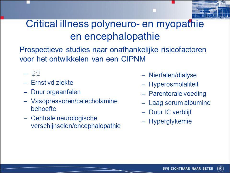 –Neuromusculaire ziekte –MG, Duchenne dystrofie, Dystrofia Myotonica –Acute steroid myopathie (astma) –GBS/Bickerstaff encephalitis –ALS, ruggenmergsyndroom (RIP), ADEM –Dwarslesie na intubatie bij een 'nauwe nek' –NCSE Critical illness polyneuro- en myopathie en encephalopathie - Differentiaal diagnose