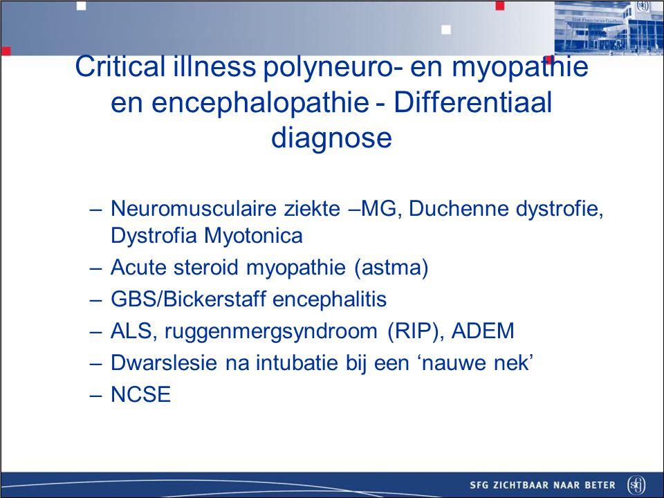 Critical illness polyneuro- en myopathie en encephalopathie - Diagnostiek Bloedbeeld, elektrolyten, TSH, CK.