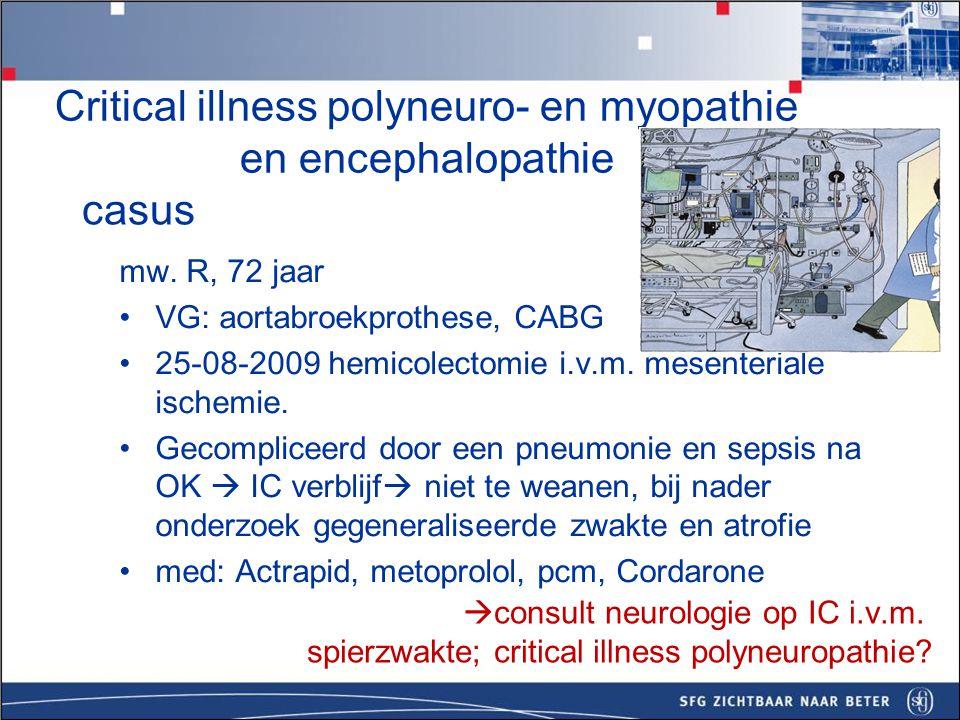 Critical illness polyneuro- en myopathie en encephalopathie - casus mevr R neurologisch onderzoek d.d.