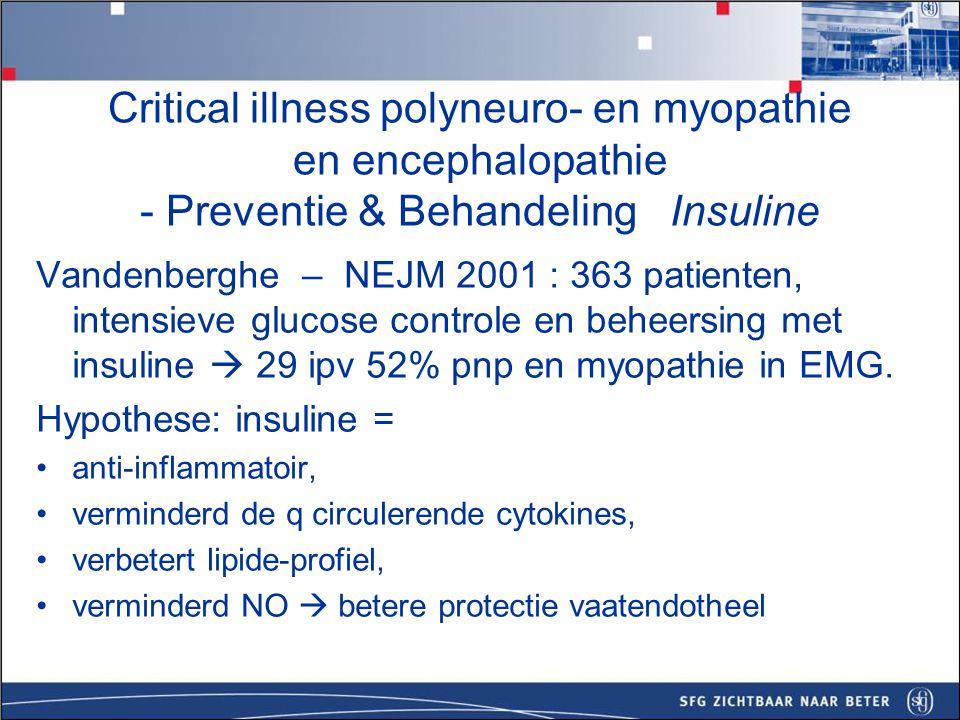Beloop/prognose Selflimiting Prognose beinvloed door onderliggende ernstige ziekte, doorgebrachte tijd op de IC (als teken van ernst vd ziekte), ernst CIPMNP, hyperglykemie, hypoalbuminerie, hyperosmolariteit.