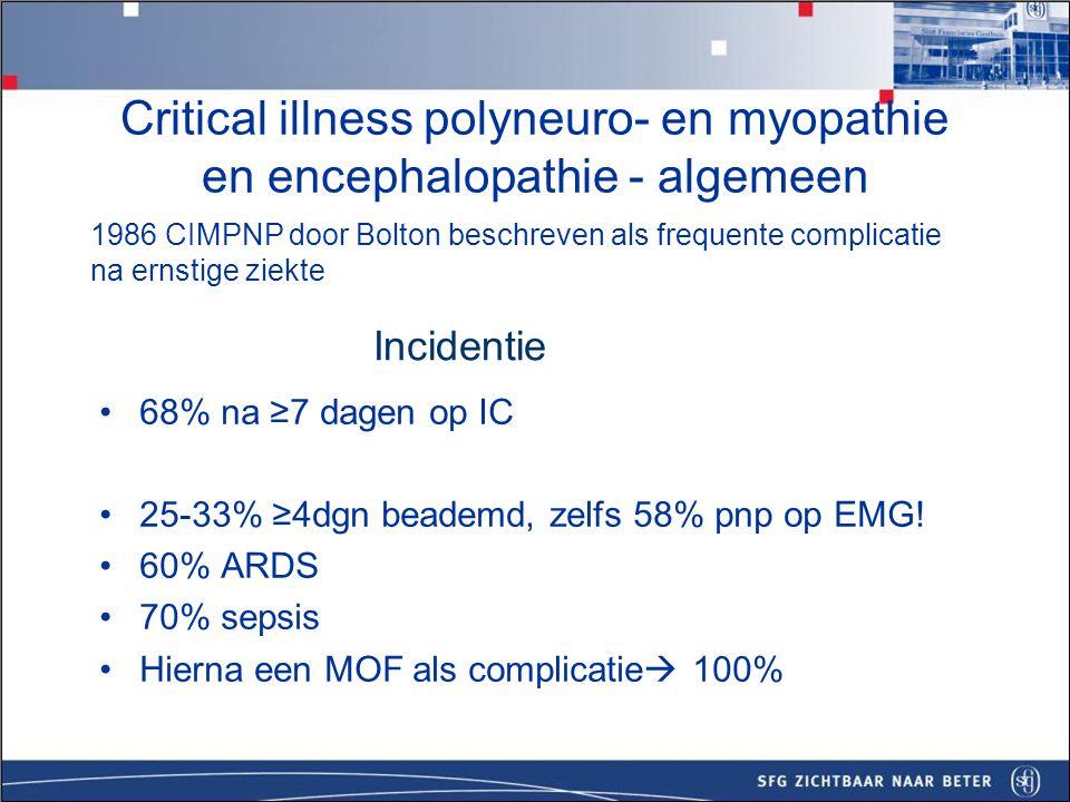 Critical illness polyneuro- en myopathie Polyneuropathie –Symmetrische zwakte aan de armen en benen, distaal > proximaal, MRC score <48 (max=60) –Lage spiertonus –Sensibele stoornissen –Lage reflexen proximaal distaal proximaal distaal