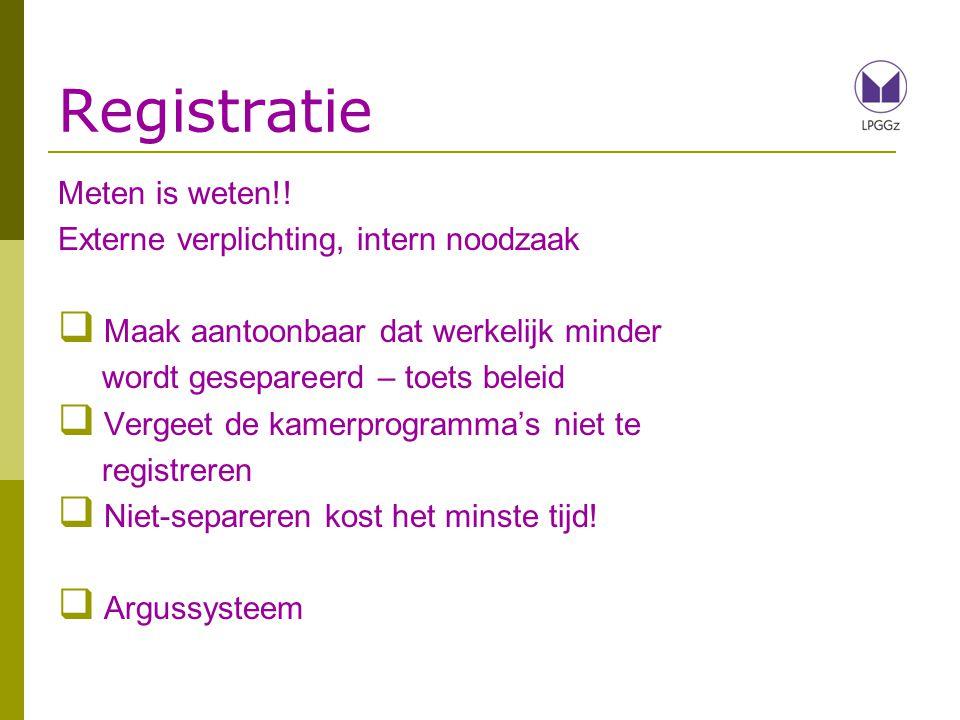 Registratie Meten is weten!! Externe verplichting, intern noodzaak  Maak aantoonbaar dat werkelijk minder wordt gesepareerd – toets beleid  Vergeet