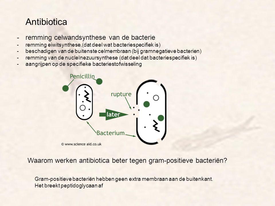 Antibiotica -remming celwandsynthese van de bacterie -remming eiwitsynthese,(dat deel wat bacteriespecifiek is) -beschadigen van de buitenste celmembr