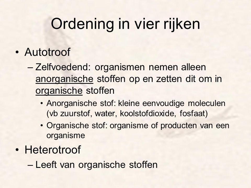 Ordening in vier rijken Autotroof –Zelfvoedend: organismen nemen alleen anorganische stoffen op en zetten dit om in organische stoffen Anorganische st
