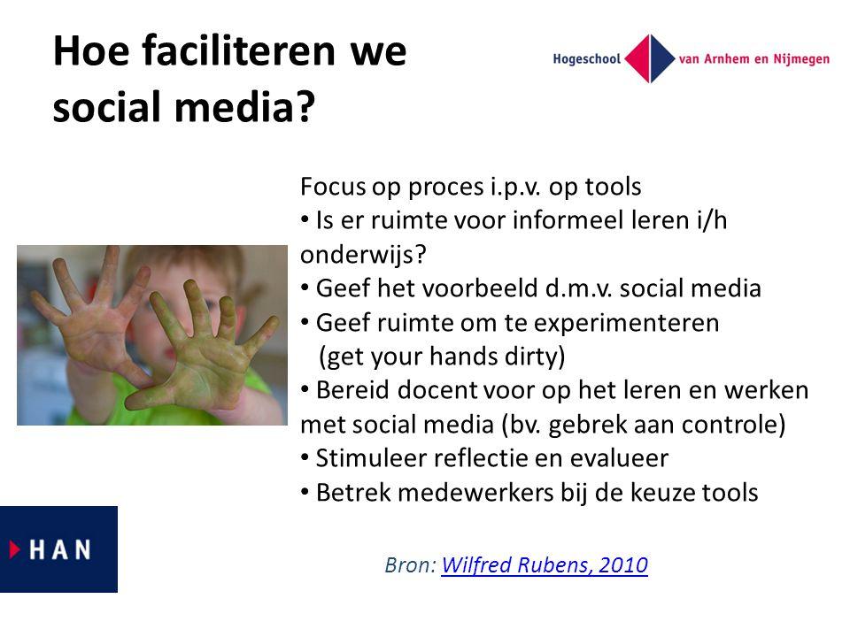 Hoe faciliteren we social media? Focus op proces i.p.v. op tools Is er ruimte voor informeel leren i/h onderwijs? Geef het voorbeeld d.m.v. social med