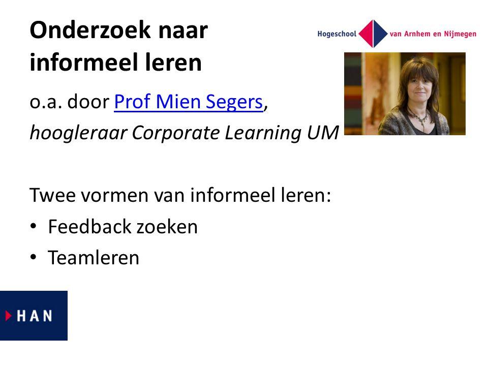 Onderzoek naar informeel leren o.a. door Prof Mien Segers,Prof Mien Segers hoogleraar Corporate Learning UM Twee vormen van informeel leren: Feedback