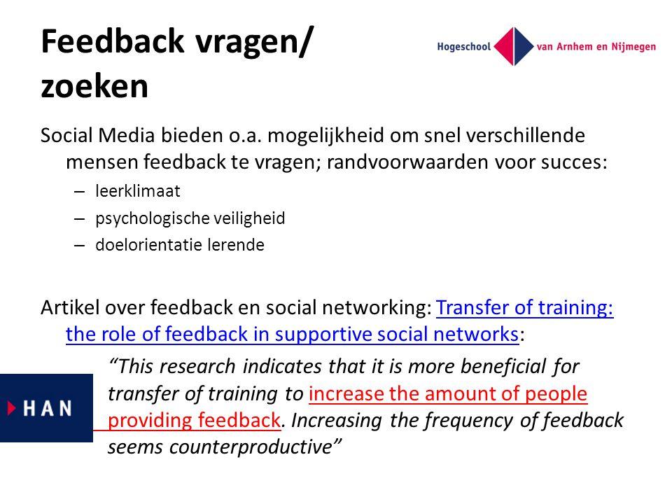 Feedback vragen/ zoeken Social Media bieden o.a. mogelijkheid om snel verschillende mensen feedback te vragen; randvoorwaarden voor succes: – leerklim