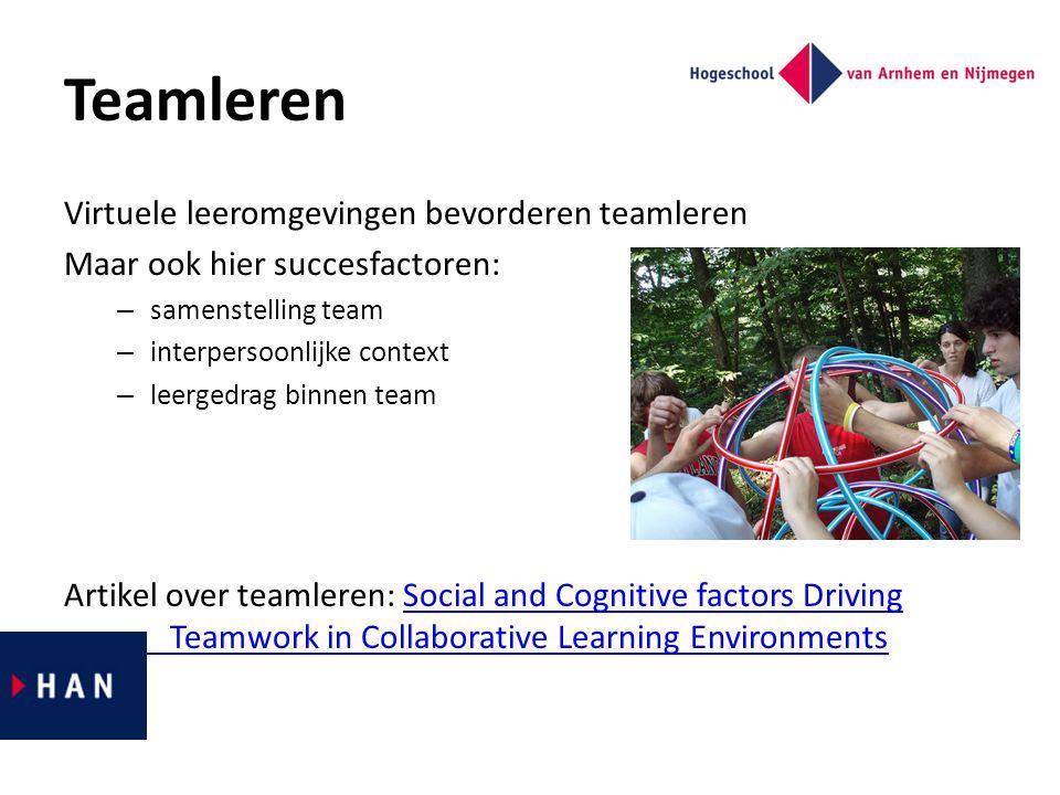 Teamleren Virtuele leeromgevingen bevorderen teamleren Maar ook hier succesfactoren: – samenstelling team – interpersoonlijke context – leergedrag bin